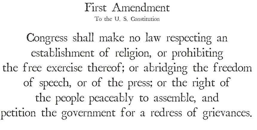 a review of freedom of speech in first amendment Citing the first amendment, especially over the course of this century, 2 the court has crafted a free speech jurisprudence that is robust and, for the most part, correct and in doing so, the.